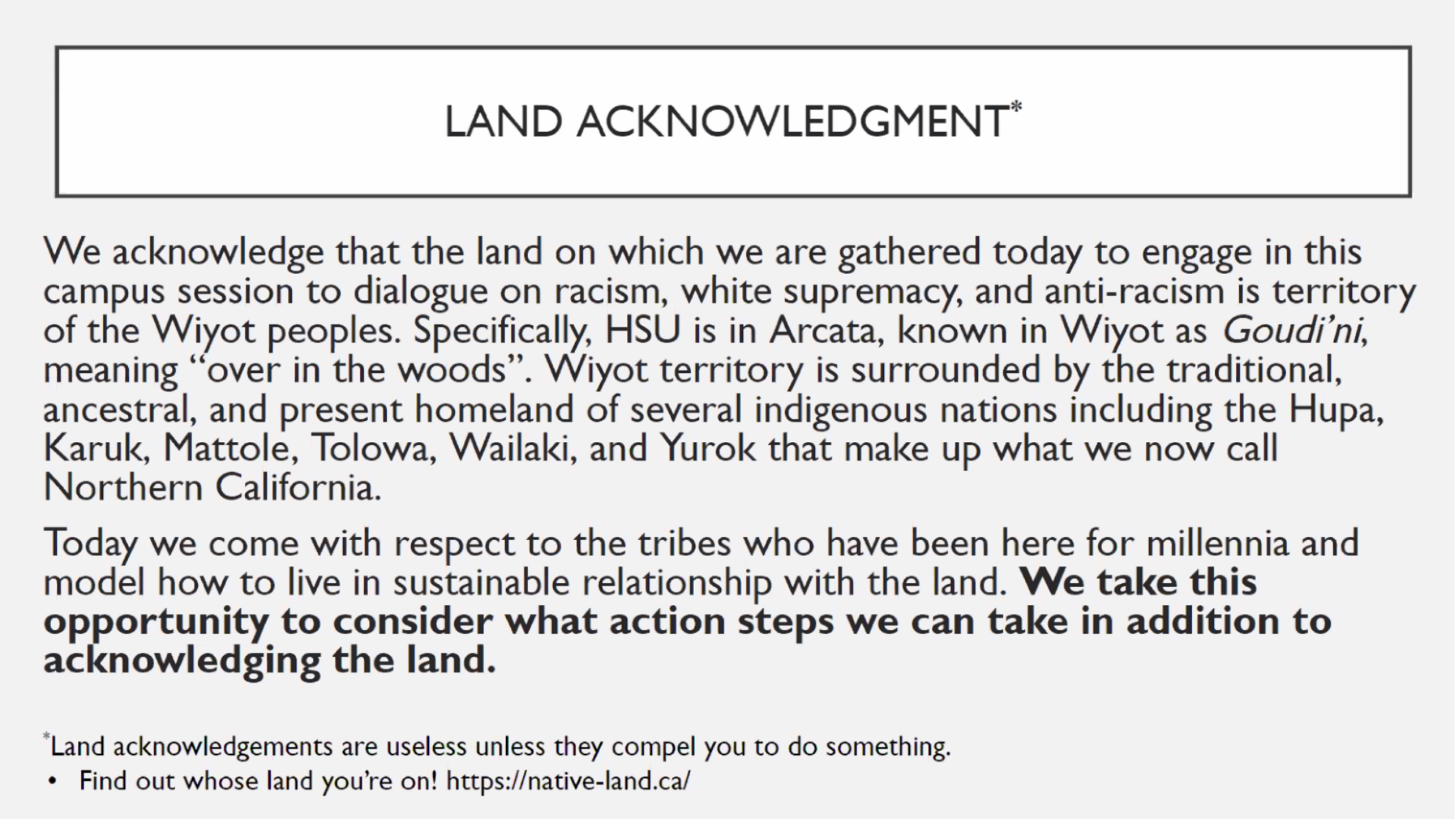 Sample Powerpoint Slide for Land Recognition